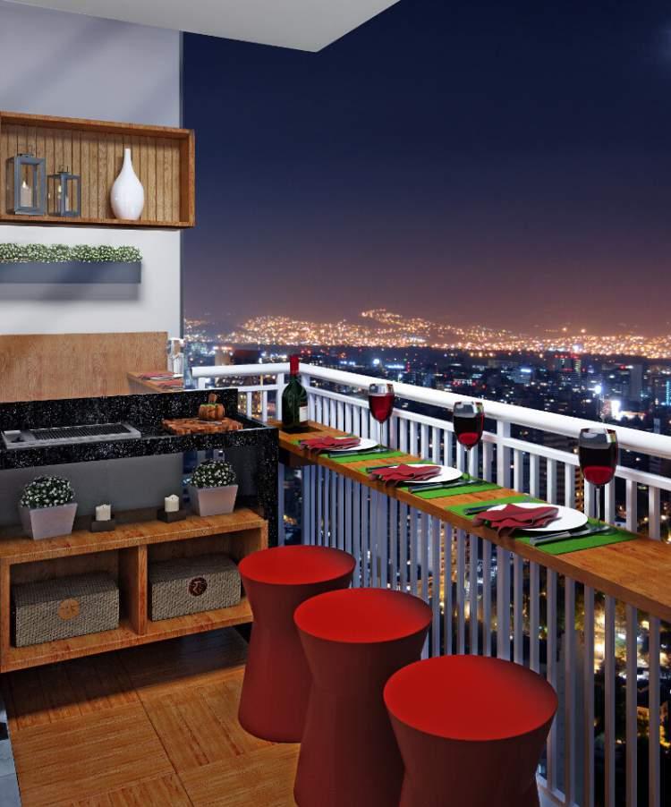 Balcão-bar na varanda ou sacada