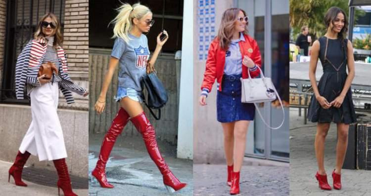 Botas vermelhas entre as tendências da moda inverno 2018
