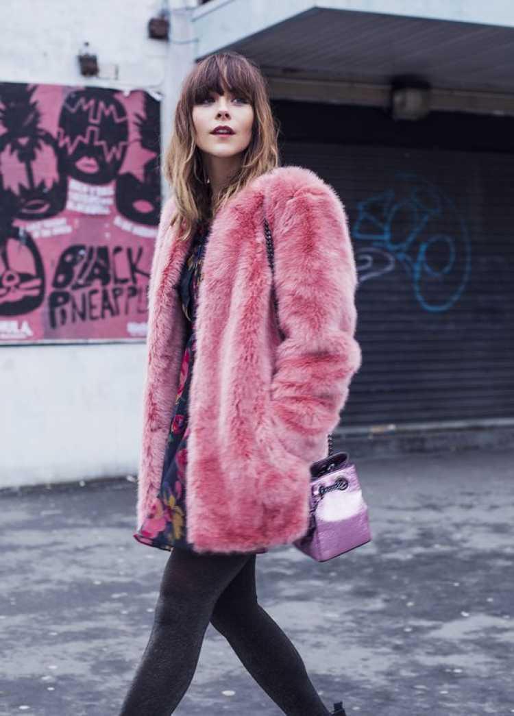 Look com casaco fake fur