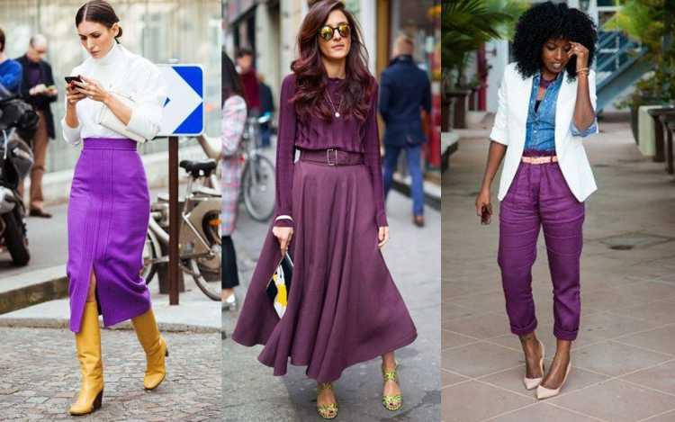 Looks com cores contrastantes com o Ultra Violet