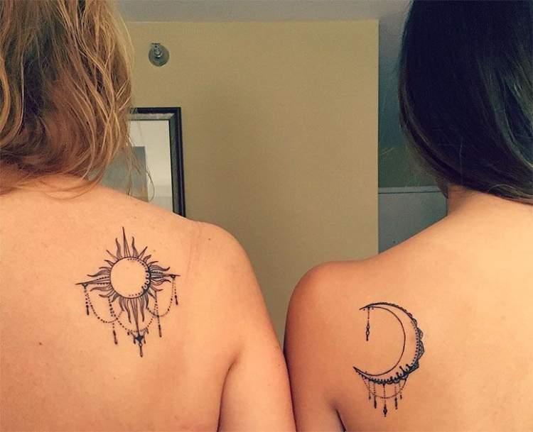 Tatuagem Mãe e Filha: Sol e Lua