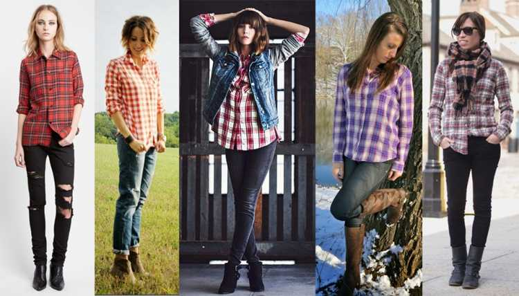 Look camisa xadrez + calça jeans