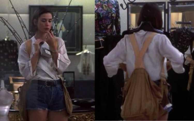 Look de Demi Moore com mochila colete no filme Proposta Indecente