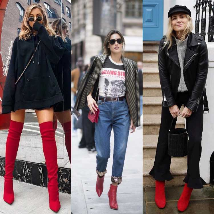 lindos modelos de botas vermelhas