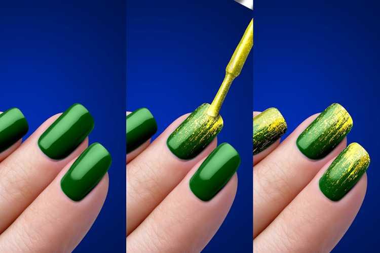Nail art verde e amarelo