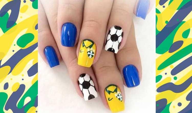 Unhas decoradas no clima de torcida pelo Brasil na copa