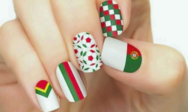 Unhas decoradas para torcer por Portugal na copa do mundo