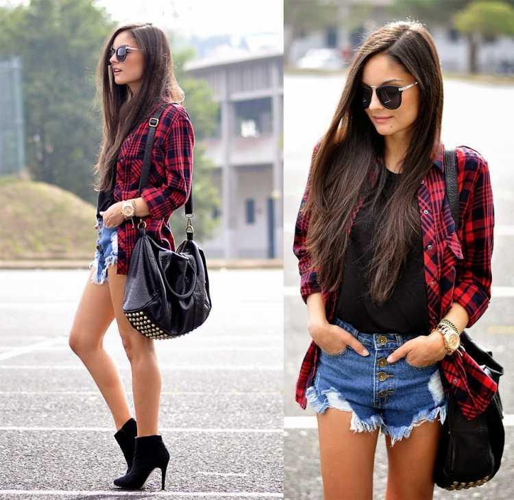 Look shorts jeans + camisa xadrez como sobreposição