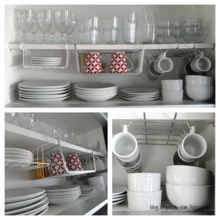 Utilize suportes para aproveitar melhor os espaços de cozinhas pequenas