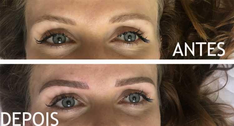 Antes e depois da micropigmentação de sobrancelhas