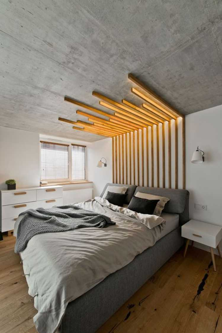 Decoração do quarto de casal com cabeceira caseira