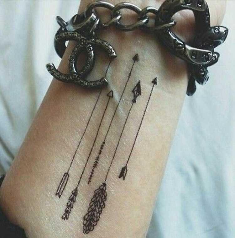 Tatuagem de várias flechas no braço