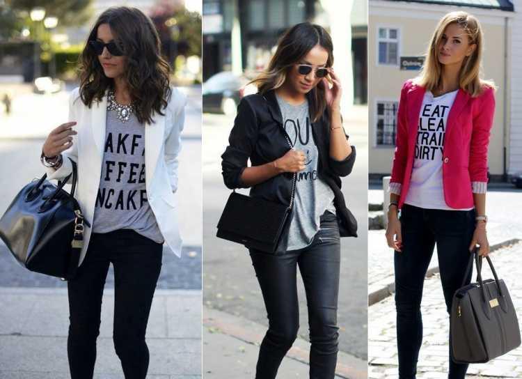 Camiseta e blazer entre as Ideias de look para faculdade