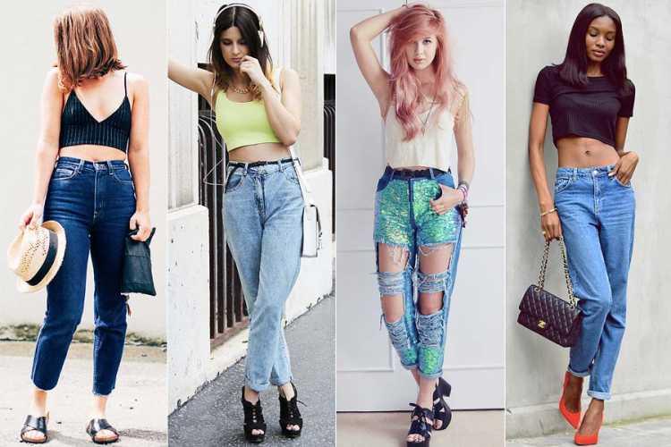 Mom jeans + top cropped é uma das ideias de look para usar numa festa a noite