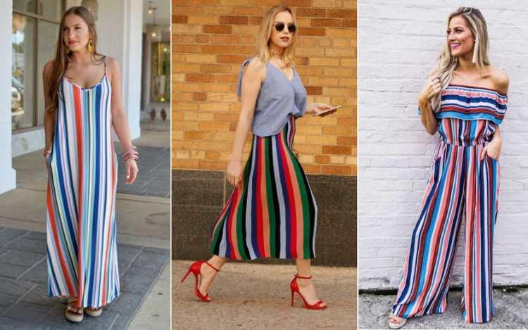 Listras coloridas e chamativas é uma das tendências da moda verão 2019