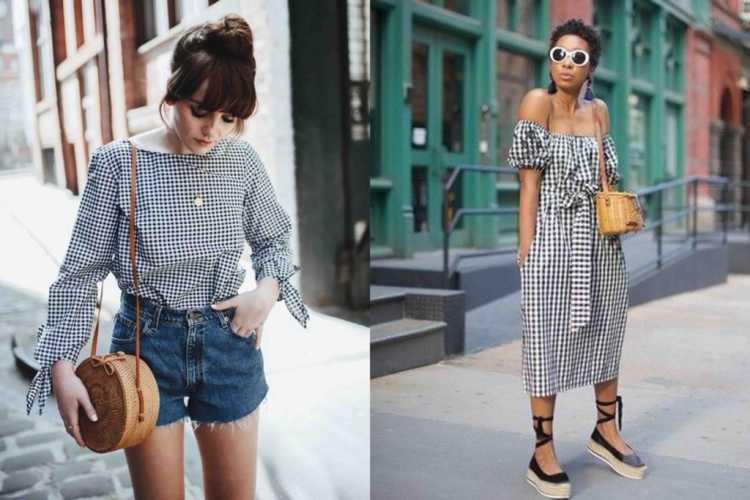 Looks leves com estampa vichy é uma das tendências de roupas leves para o verão 2019