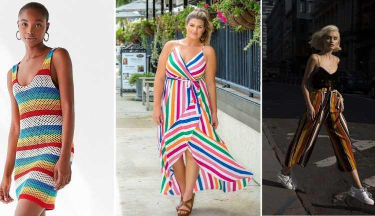 Peças fluidas com estampa arco-íris é uma das tendências de roupas leves para o verão 2019