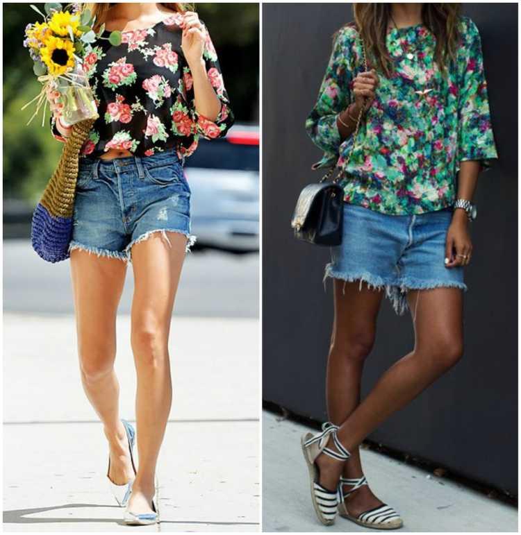 Shorts jeans com blusa floral é uma das inspirações para quem gosta de usar shortinhos no verão