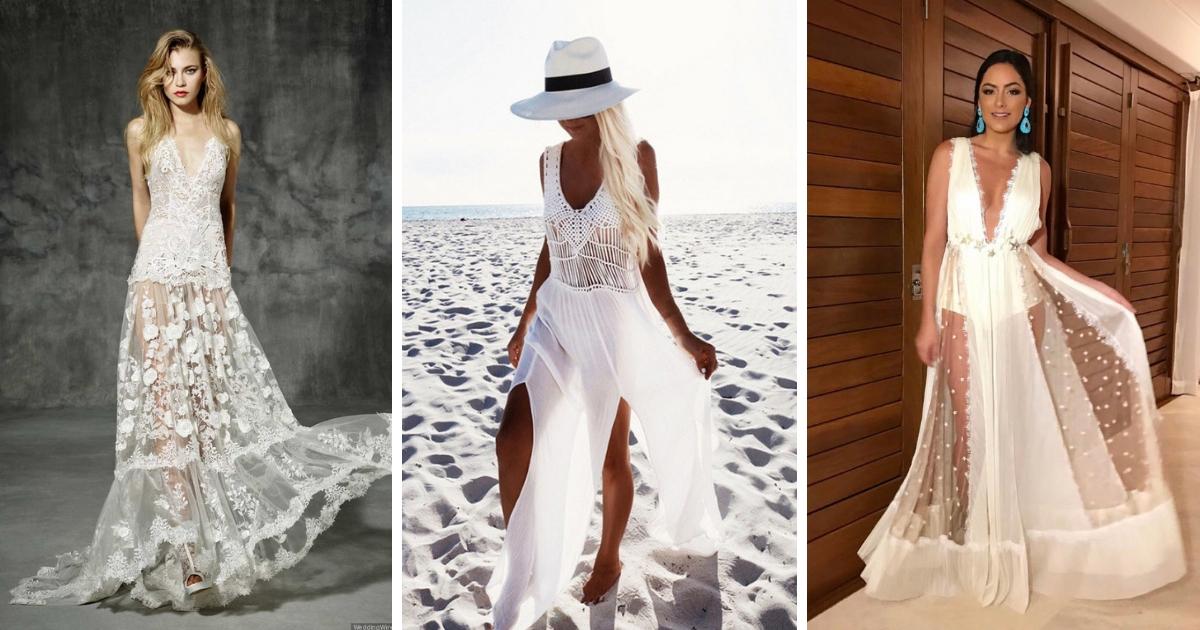 Vestido com transparência para réveillon na praia