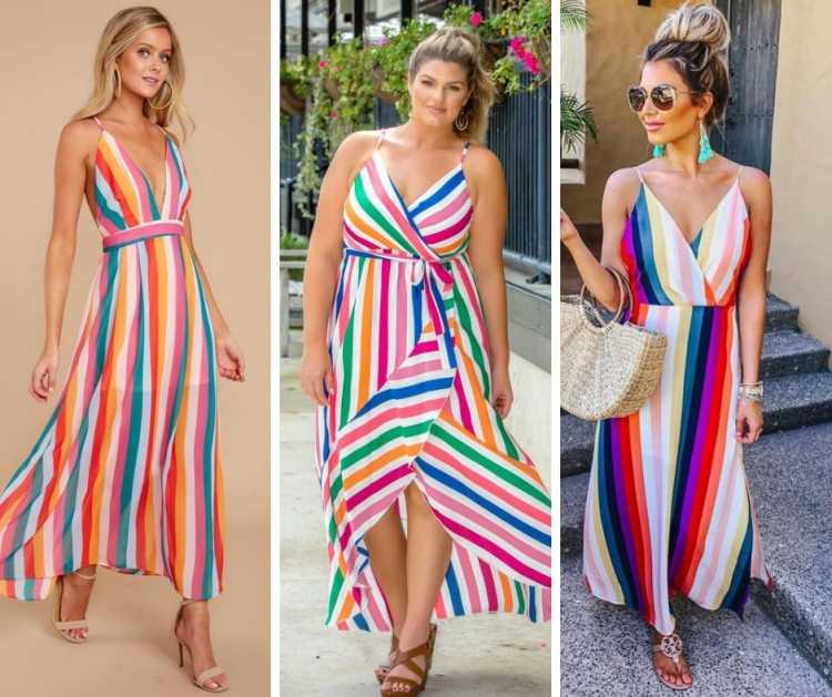Vestidos em estampa arco-íris é tendência no verão 2019