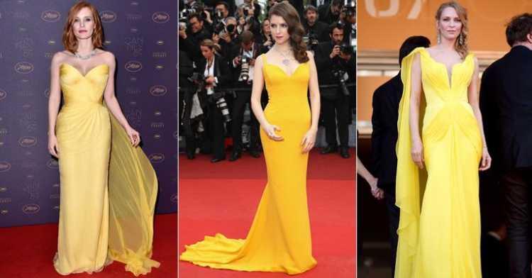 Vestidos mostarda é uma das tendências para madrinhas e formandas em 2019