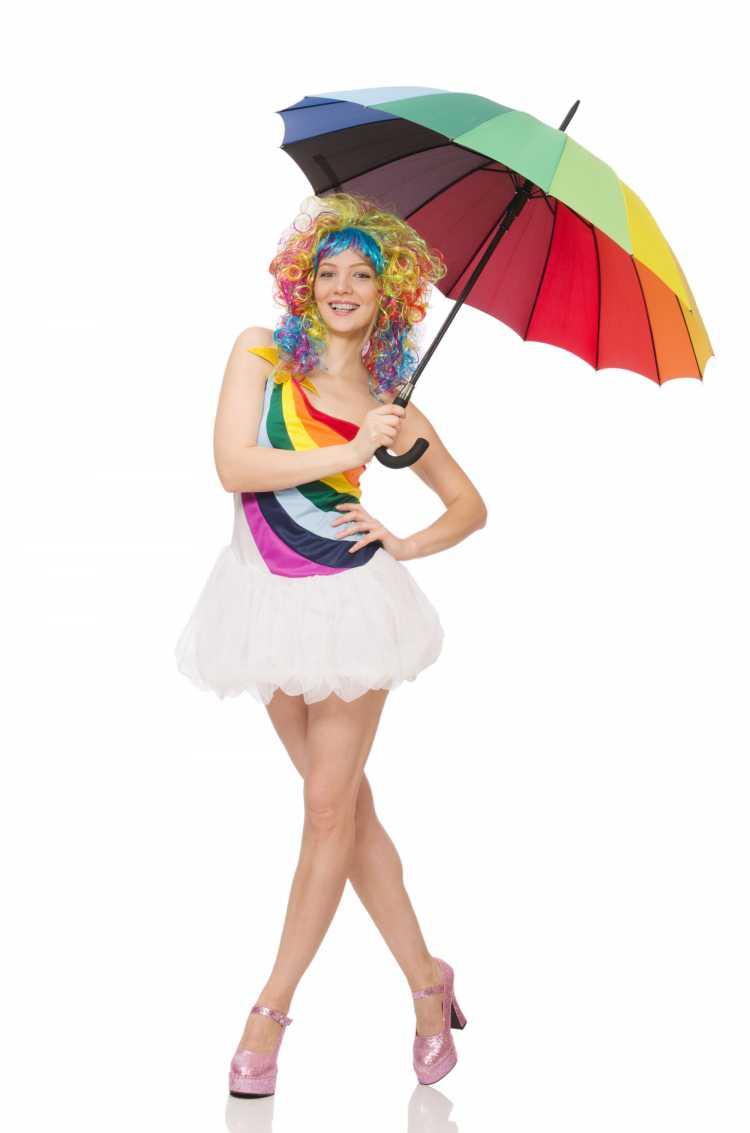 fantasia de carnaval arco íris