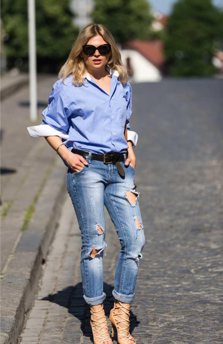 camisa Social Feminina com calça jeans