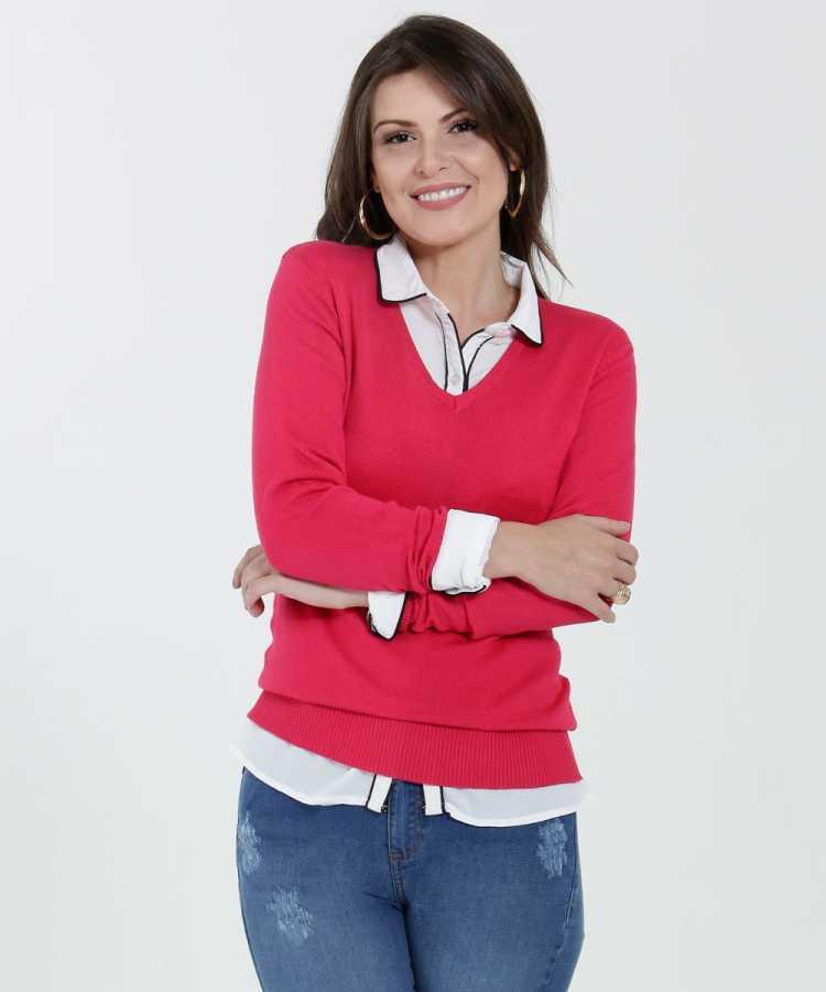 camisa Social Feminina sobreposta