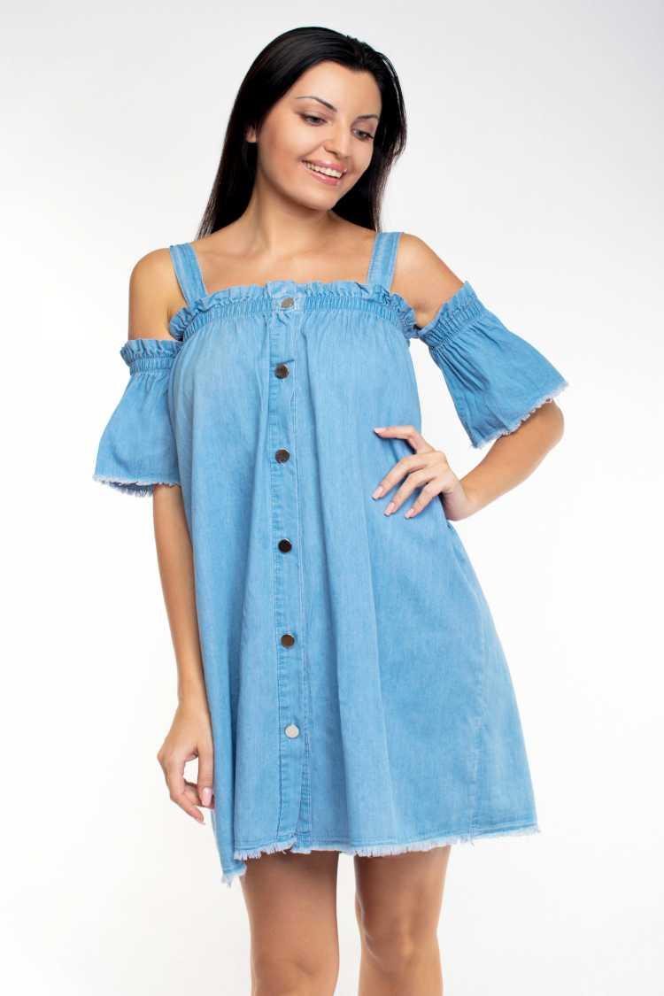 vestido de botões na frente jeans ombro a ombro