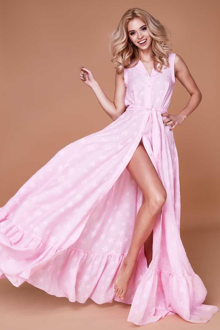 vestido de botões na frente rosa bebê com fenda