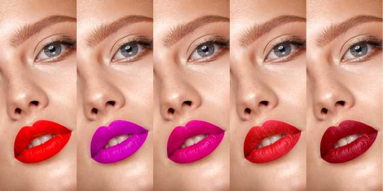 Maquiagem para sessão de fotos com batons de cores fortes