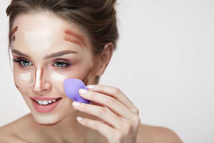Maquiagem para sessão de fotos esfumando o contorno