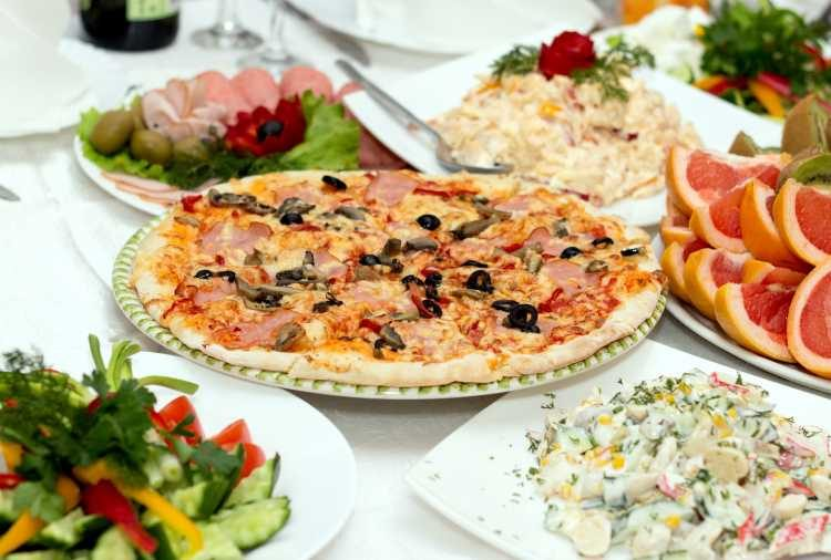 buffet de casamento com pizza