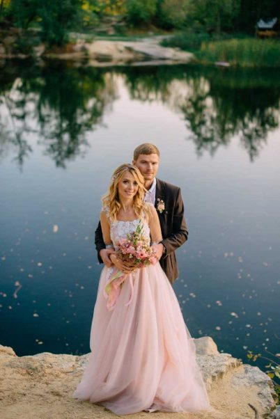 vestido de noiva rosê