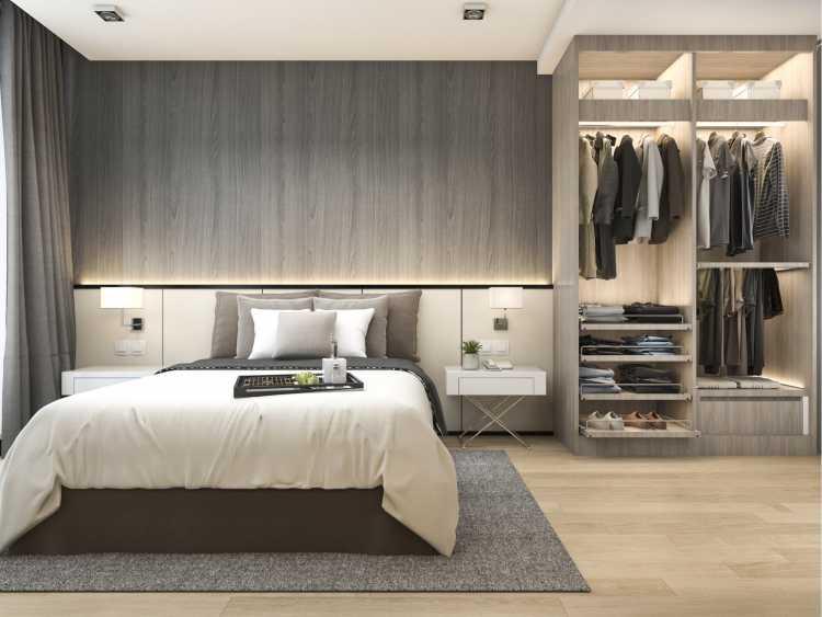 closet integrado ao banheiro e ao quarto