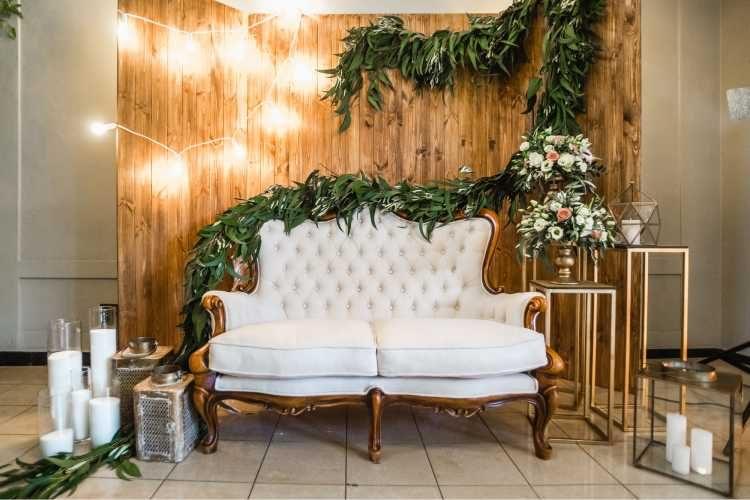 decoração para casamento com sofás