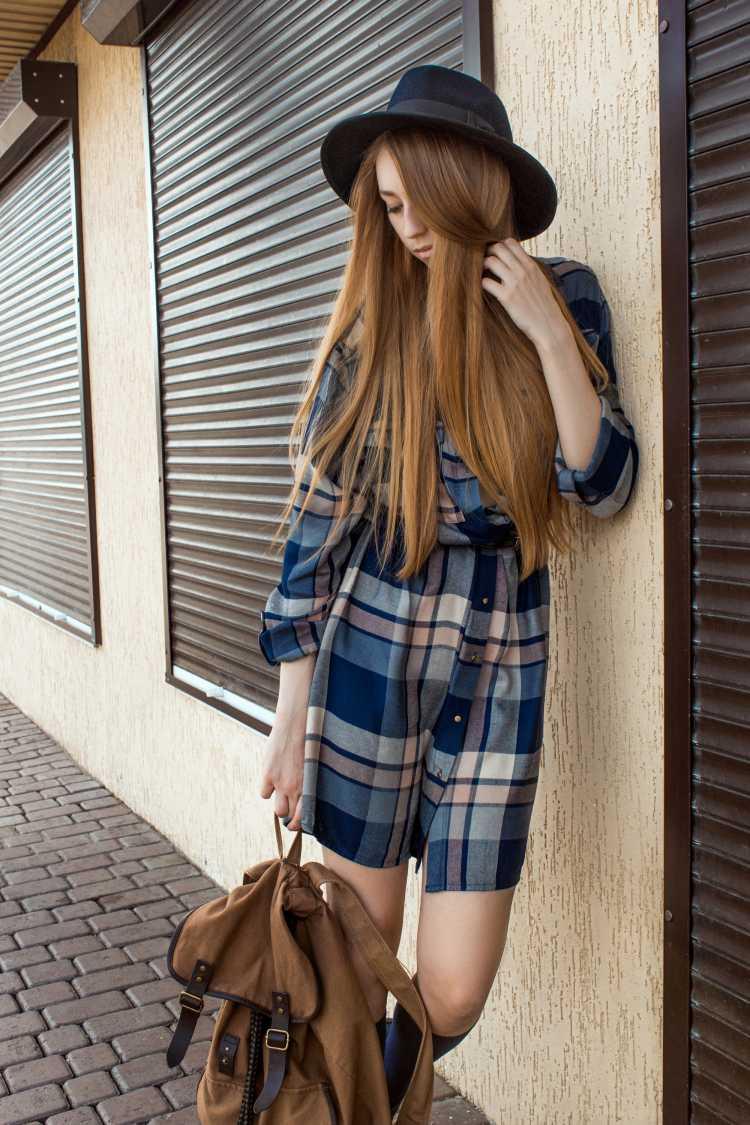 look com vestido xadrez