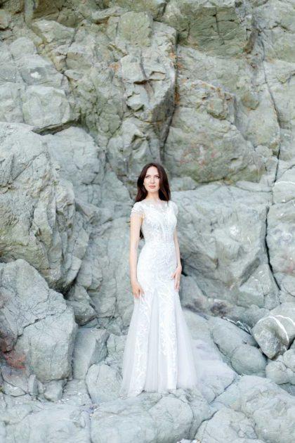 vestido de chiffon estilo sereia