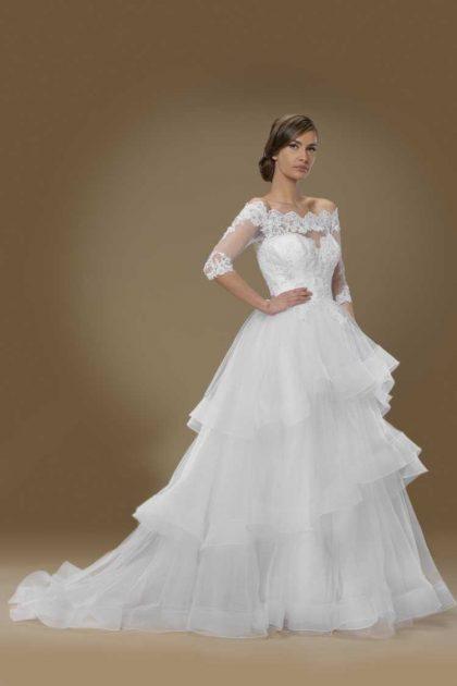 vestido de noiva de organza e manga bordada