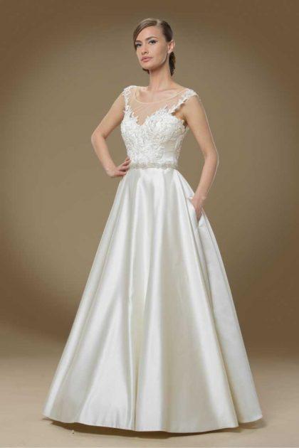 vestido de noiva maravilhoso com saia em seda e cropped illusion