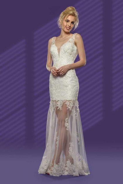 vestido de noiva perfeito com parte da saia transparente