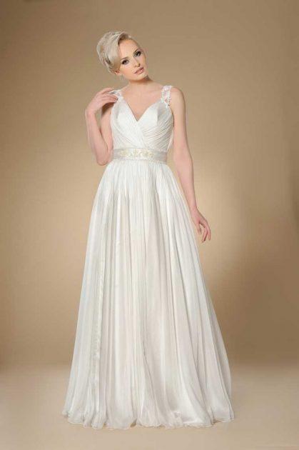 vestido de noiva soltinho com decote em v