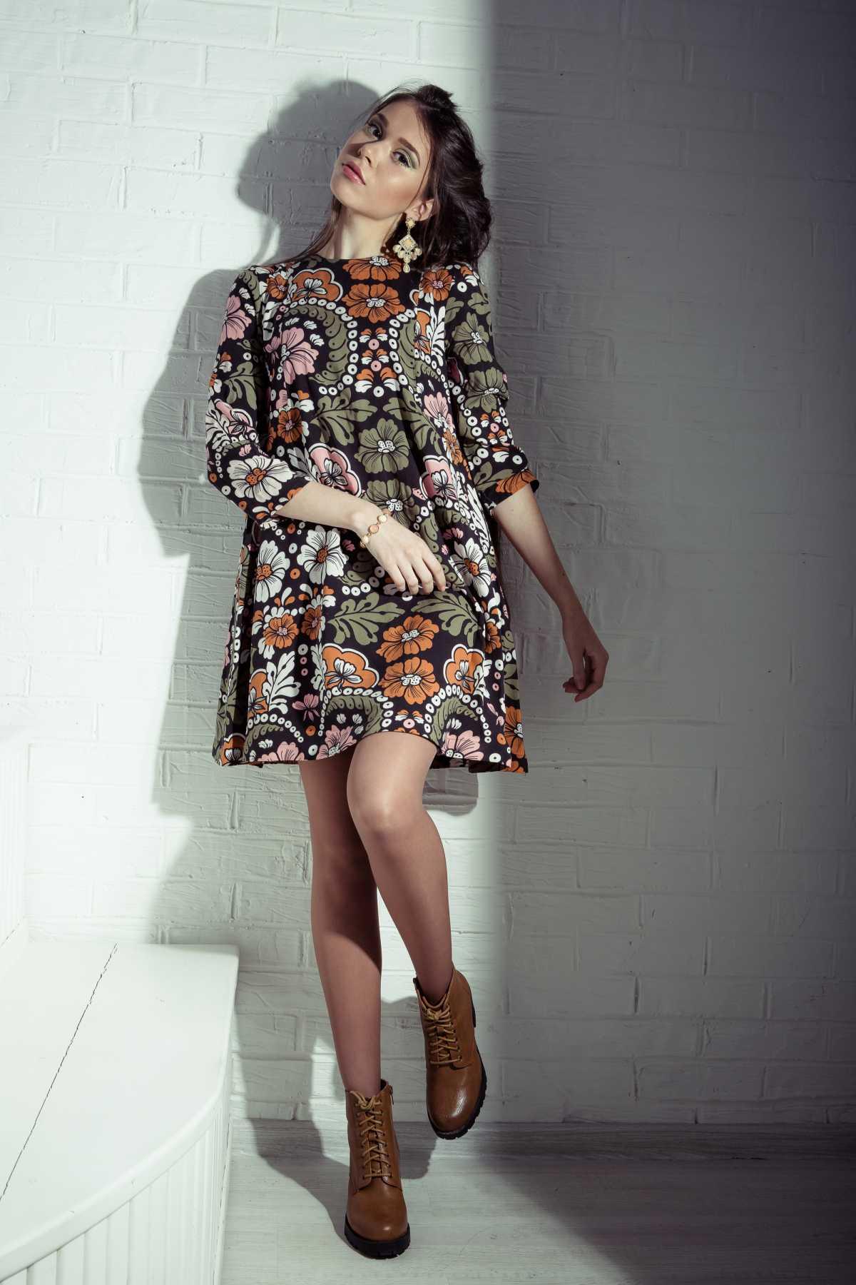 look boho com vestido curto floral
