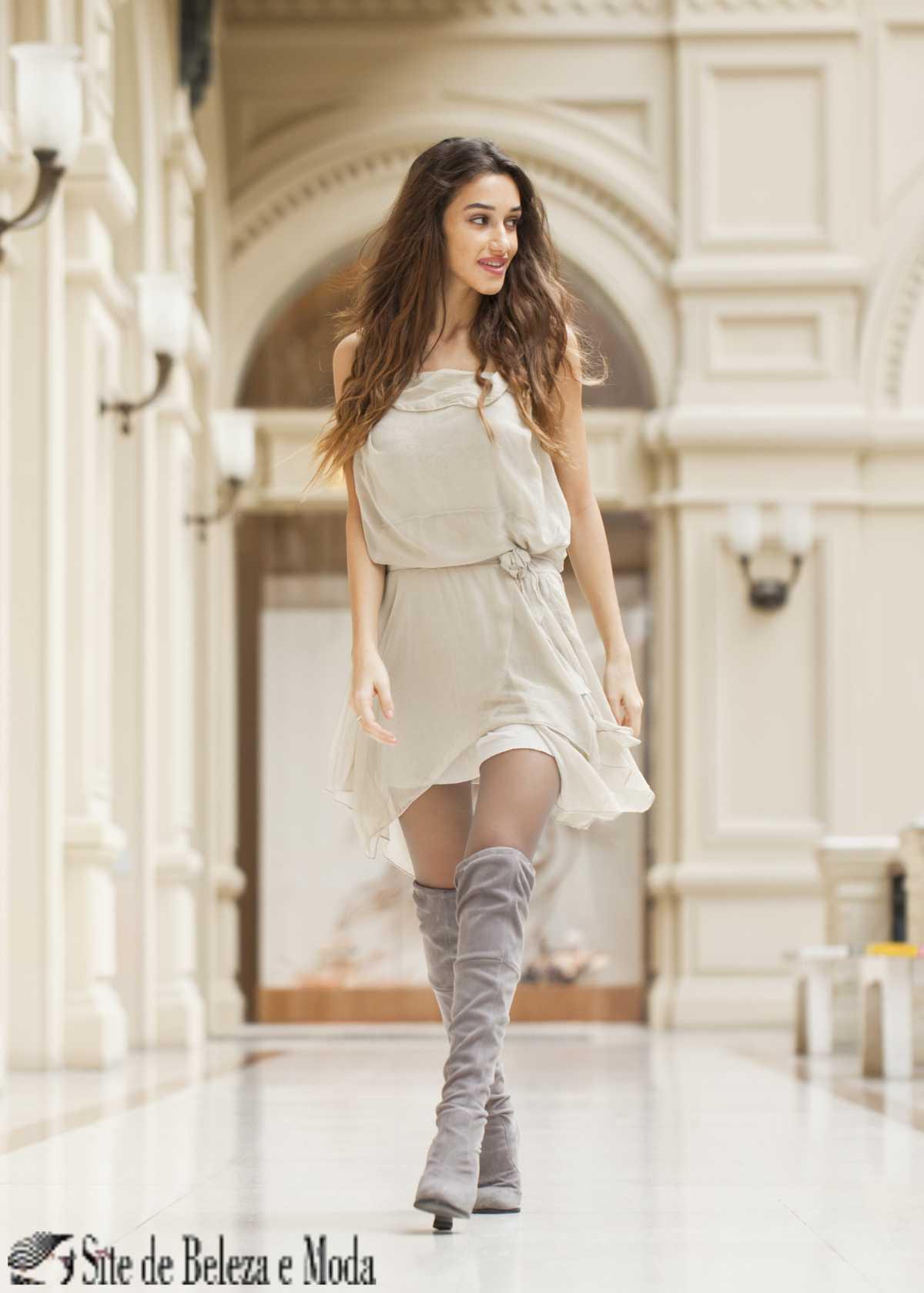 vestido com bota cano longo