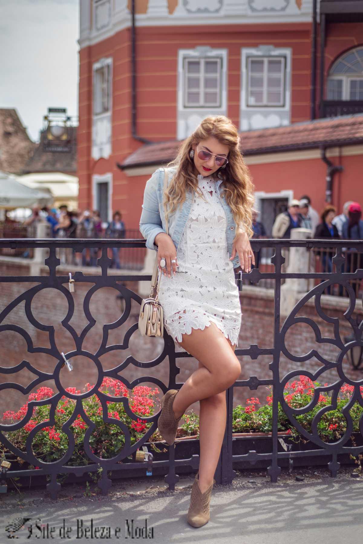 vestido de renda no inverno