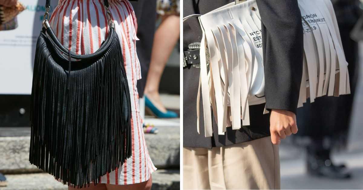 bolsas branca e preta com franjas