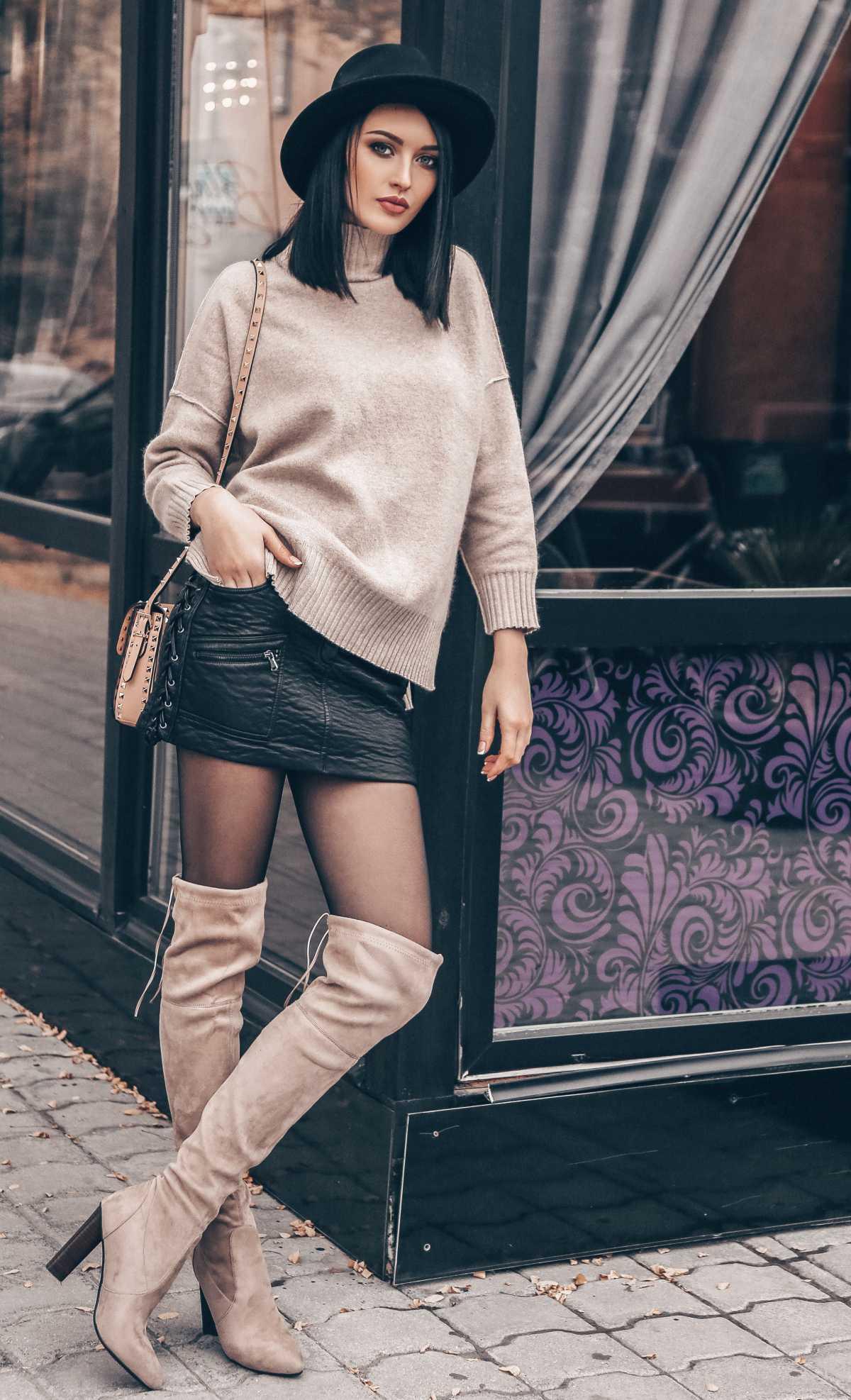 Look de inverno com mini saia