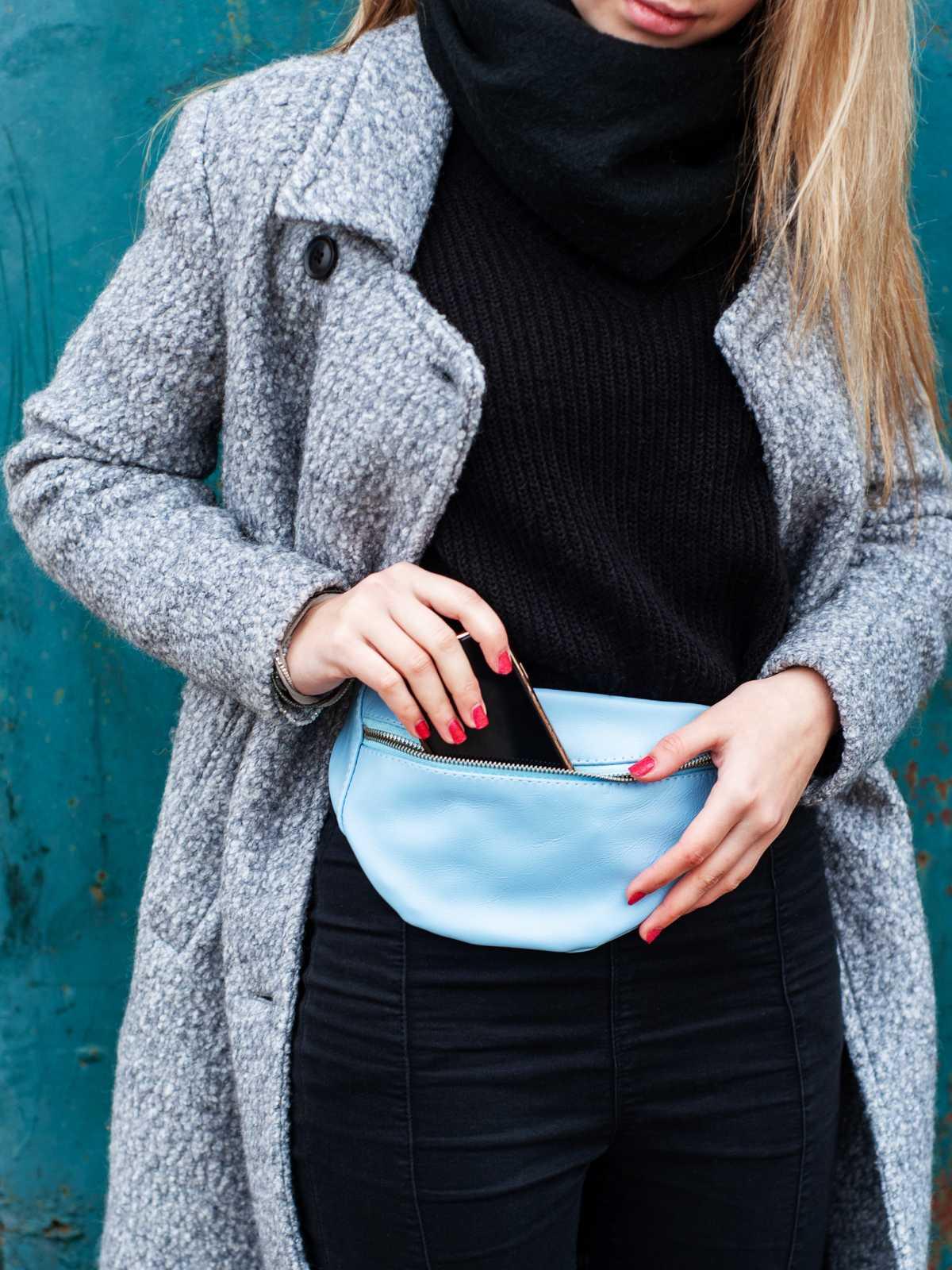 bolsa pochete feminina azul