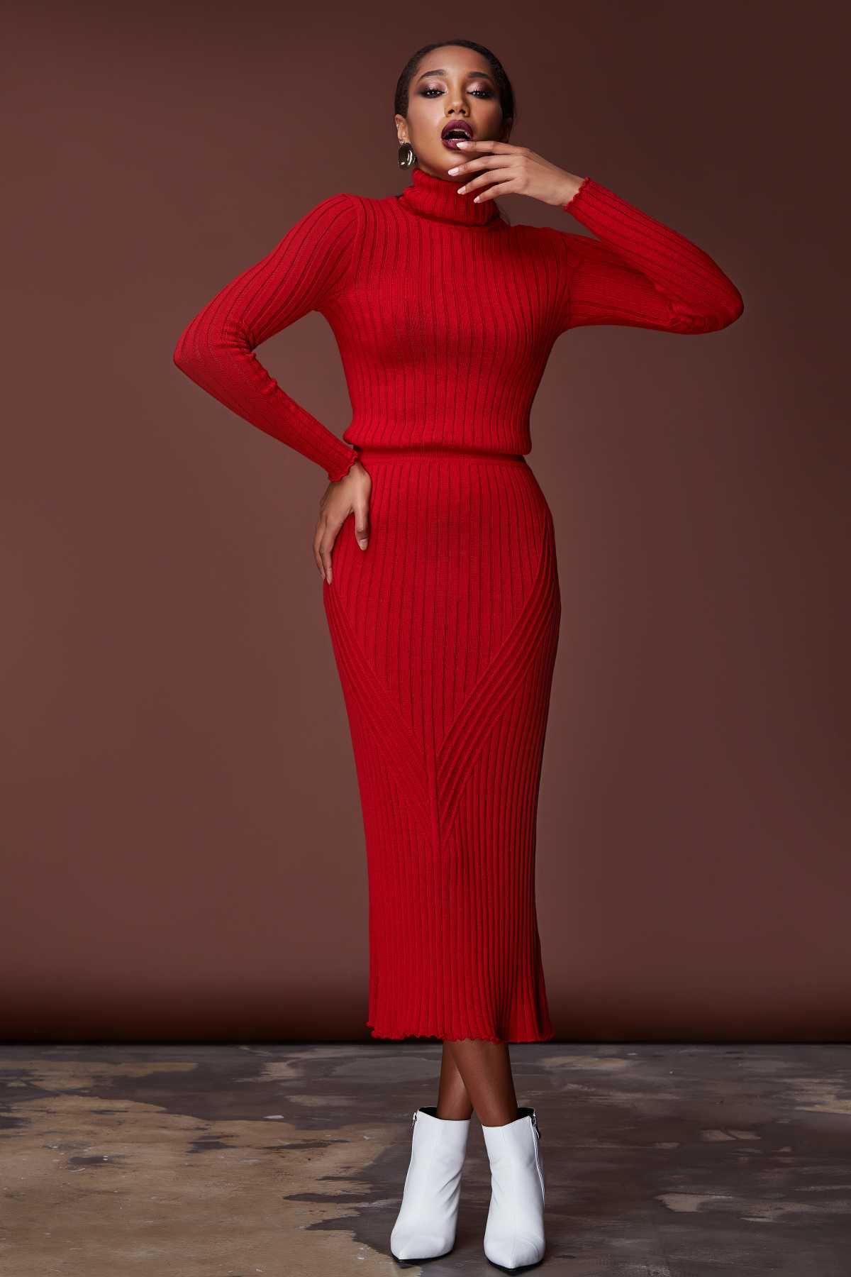 dress longo vermelho de tricô