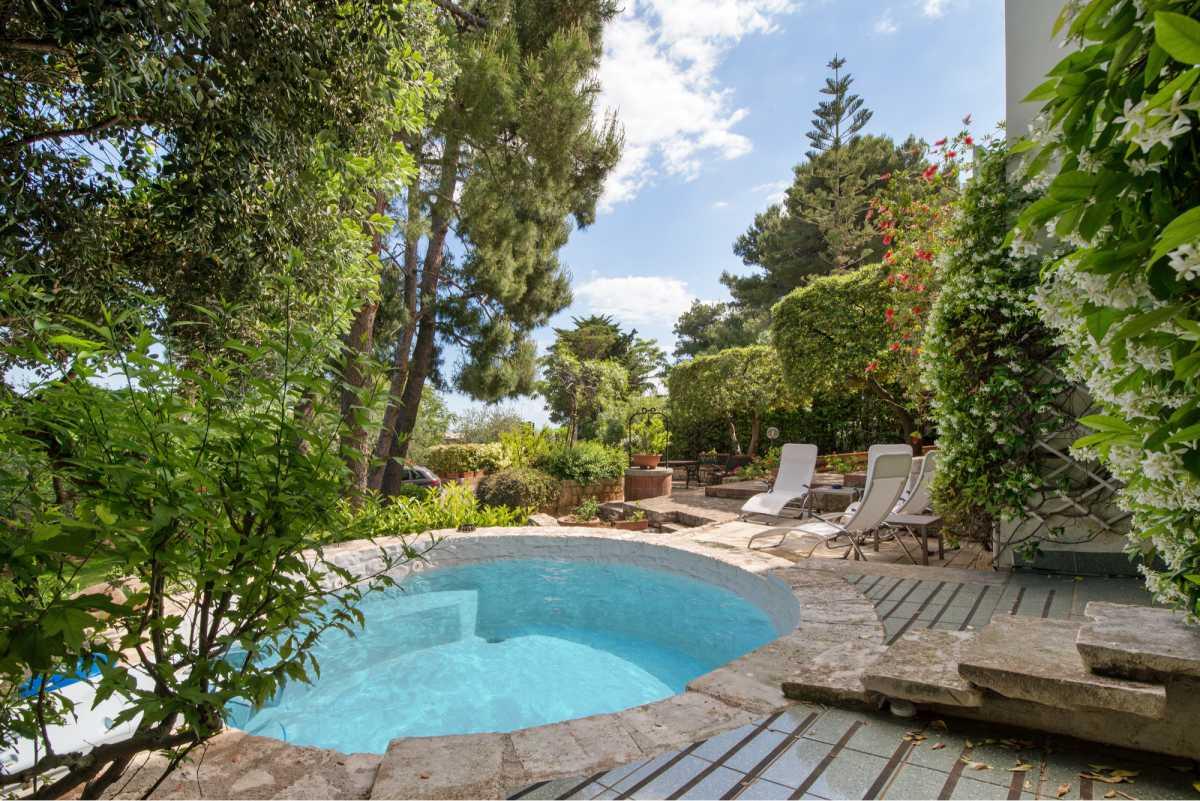 projeto paisagístico com piscina pequena redonda